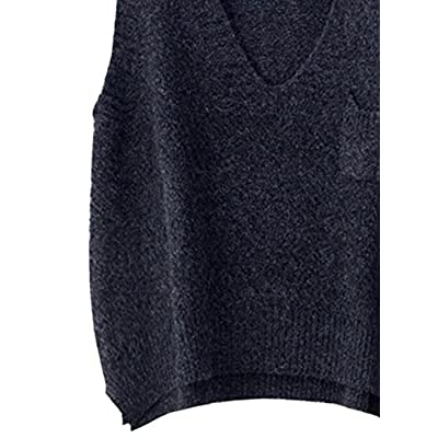 futurino Women's Boxy Solid Color Low V Neck Marled Knitted Sweater Vest Tops Dark Grey at Women's Clothing store