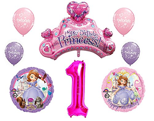 Disney's Sofia the First 1st Happy Birthday Party Balloons Decorations Supplies Bundle ()