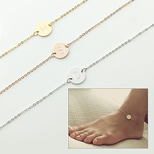 Personalized Circle Disc (Personalized Initial Disc Anklet Gift for Her Personalized Gift Personalized Charm Initial Anklet Charm Anklet Gift for Her Body Jewelry - 2CA)