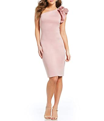 dcf487d2 Image Unavailable. Image not available for. Color: Eliza J One Shoulder  Ruffle Sleeve Sheath Dress 4