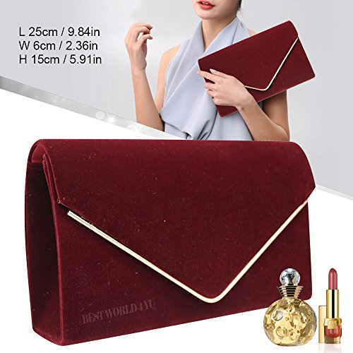 Faux Ladies Envelope Bridal Clutch Burgundy Bag Clutch Frame Evening Party Metallic Prom Bag Wocharm Suede HandBags Girly Wedding qn1cSxABt