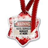 Christmas Ornament Warning Hotel Services Manager At Work Vintage Fun Job Sign, red - Neonblond