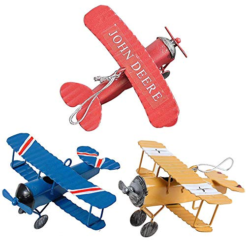 (Pack of 3 Airplane Decor Vintage Mini Metal Decorative Airplane Model Hanging Wrought Iron Aircraft Biplane Pendant Tin Toys for Photo Props, Christmas Tree Ornament, Desktop Decoration, 3 Color)