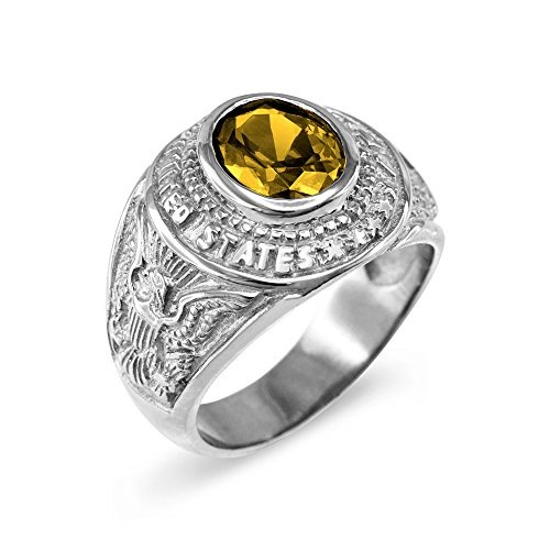 November CZ Birthstone US Army Men's Ring in Solid 925 Sterling Silver (Size 12.5) ()