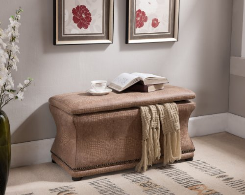 Kings Brand Crackle Brown With Copper Nails Storage Ottoman Bench