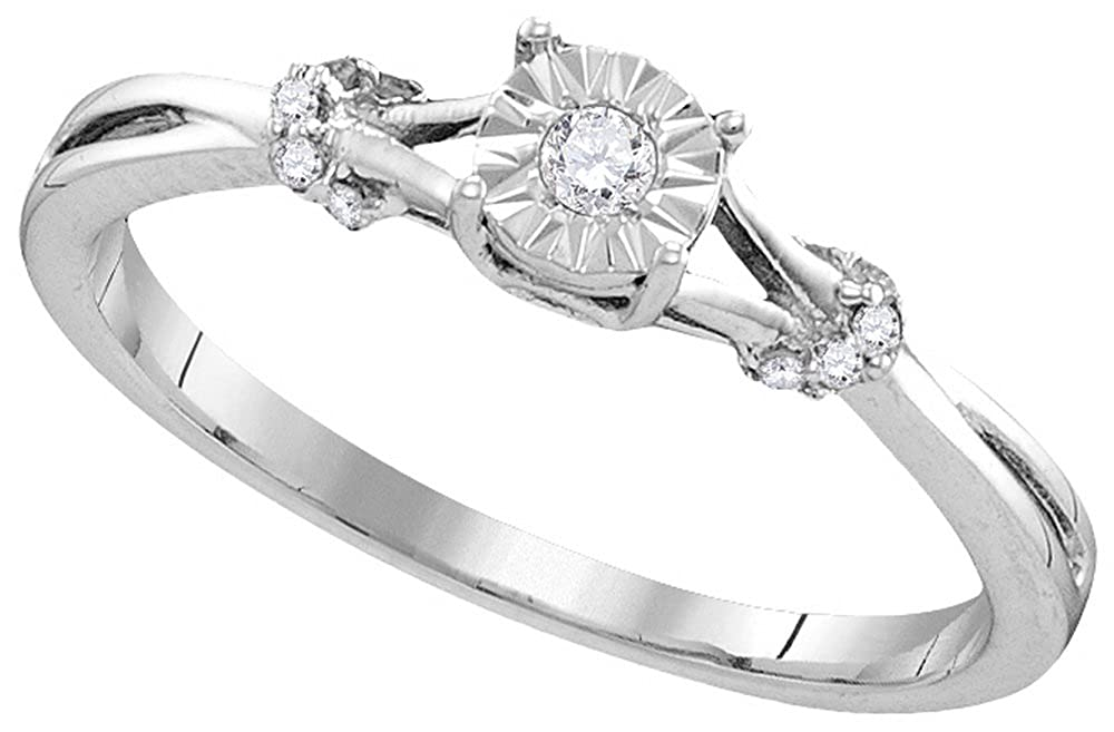 Sterling Silver Womens Round Diamond Heart Love Bridal Wedding Engagement Ring 1//10 Cttw