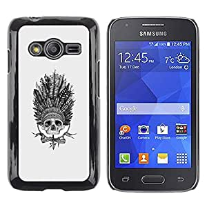 MobileHut / Samsung Galaxy Ace 4 G313 SM-G313F / Indian Chief Headgear Feathers Native / Delgado Negro Plástico caso cubierta Shell Armor Funda Case Cover