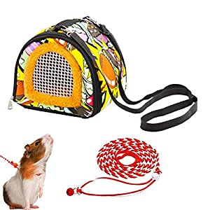 ADOGGYGO Small Animals Hamster Carrier Bag with Strap Breathable Portable Outgoing Bag for Hamster Hedgehog Squirrel…