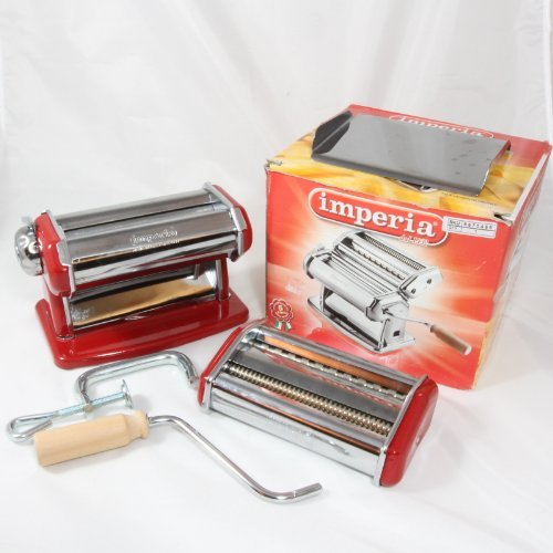 Imperia Pasta Machine with Fettuccine & Linguine Attachment, Red