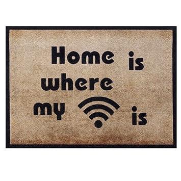 Fussmatte Mein Wifi 50x70 Cm Gross Waschbar Fr Aussen Innen Lustige Schmutzfangmatte Beige Rutschfest Ohne