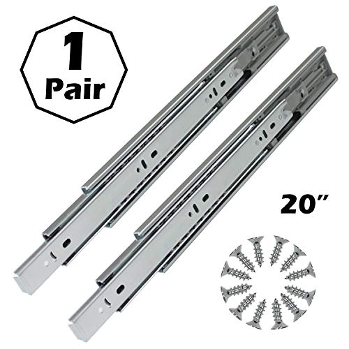 Gobrico Hardware 20-inch 100 lb. Hydraulic Soft Self Close Full Extension Ball Bearing Drawer Slides 3Folds 1Pair