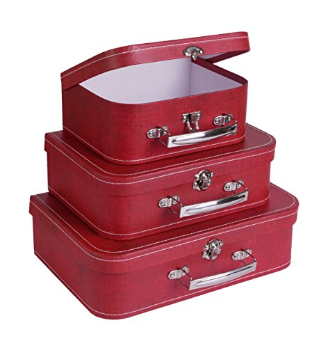 SLPR Paperboard Suitcases (Set of 3, Distressed Red) | Boxes for Birthday Parties Wedding Decoration Displays Crafts Photo Shoots