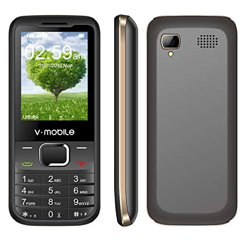 Affordable Feature Phone V Mobile D2 2.4 Inch Dual Sim Dual Standby 1200mAh Battery 0.08MP Pixels RAM32MB+ROM64MB Support MP3/MP4 Players Flashlight Bluetooth 2.0 (Black) (Cheap And Best Mobile With All Features)