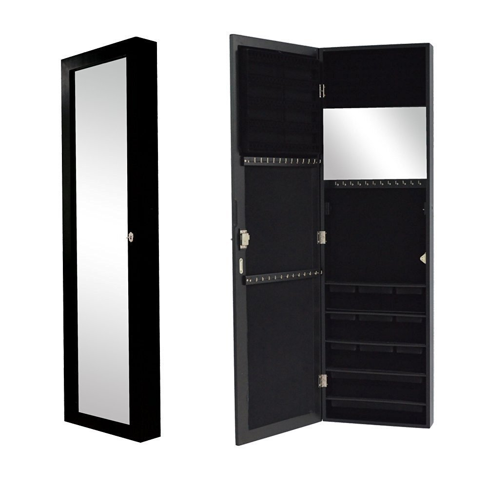 Organizedlife Black Free Standing Wall/Door-Mount Mirror Jewelry Armoire Cabinet For Dressing Room by Organizedlife (Image #4)