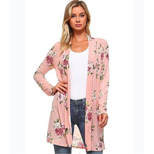 MOKAO 2017 Fall Fashion Women Long Sleeve Floral Print Kimono Cardigan Blouse Shawl Long Tops (M, Pink)