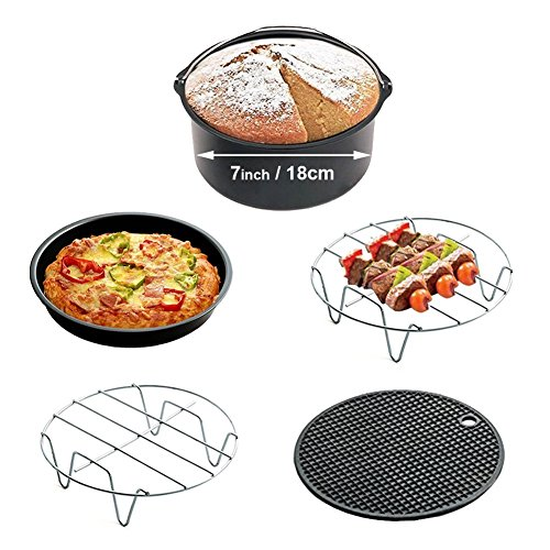 Pack of 5 Universal Air Fryer Accessories Compatible with Philips GoWISE Cozyna - Air Fryer Kits Fit All 3.7QT-5.3QT-5.8QT - Cake Barrel, Pizza Pan, Metal Holder, Skewer Rack, Silicone Mat