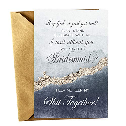 Navy Be My Bridesmaid Cards with Gold Envelopes Set Proposals for Asking Wedding Attendant Gift Ideas Pack Includes 2 Maid of Honor + 1 Matron of Honor + 5 Bridesmaid Proposal Invites (Mod Invite)