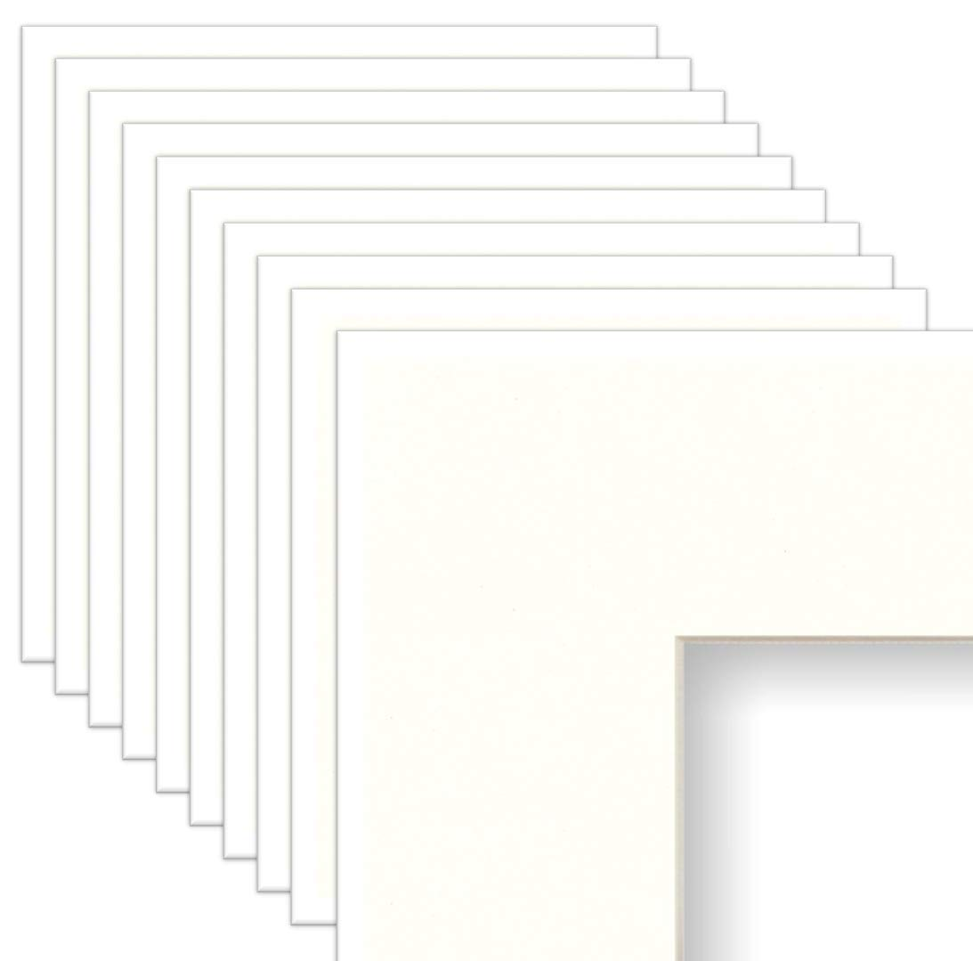 Frame Amo 24x36 White Mat for Picture Frame, Bevel Cut for 18x24 Picture or Poster, Cream Core, 10-Pack