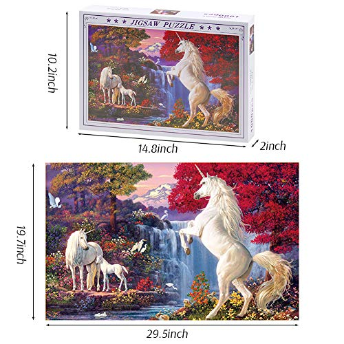 LovesTown 1000 Piece Puzzles,Large Jigsaw Puzzle Rainbow Horse Theme Puzzles for Adults Kids Educational Intelligent Decompressing Fun Family Game