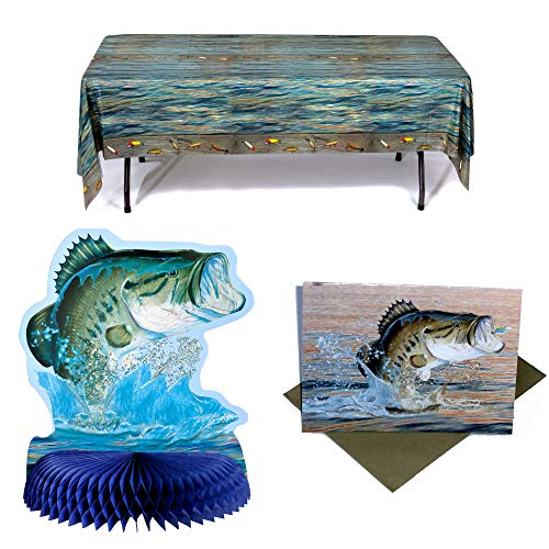 (Havercamp Gone Fishin' Party Pack | Table Cover, Centerpiece, Envelopes, Invitations | Great for Father's Day, Fishing Tournament, Birthday)