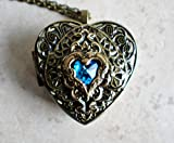 Blue Crystal heart Music Box Locket