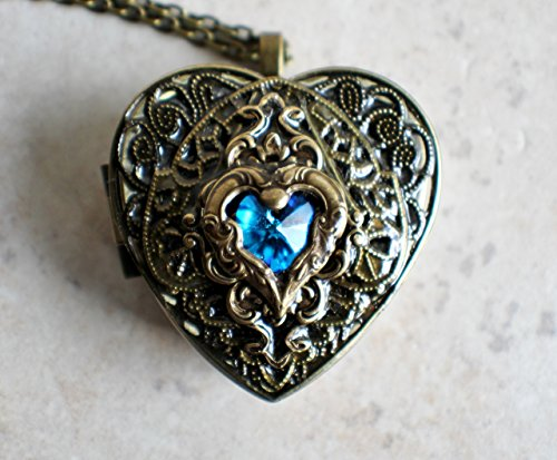Blue Crystal heart Music Box Locket by Chars Favorite Things