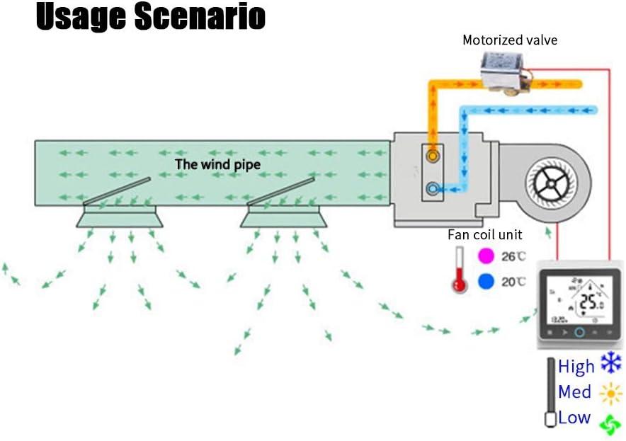 2 Pipe Pantalla T/áctil LCD Para Aire Acondicionado Central Ahorro de Energ/ía Termostato Inteligente Almacenamiento M/ás Preciso y Flexible Controlador WiFi de 2//4 Tubos