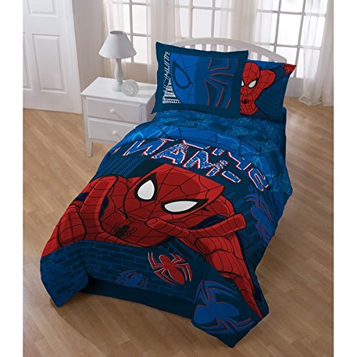 5 Piece Boys Navy Blue Red Marvel Spider Man Theme Comforter Twin Set, Fun Kids Super Hero The Amazing Spiderman Web Bedding, Superhero Graphic Cartoon Comic Reversible Themed Pattern, Black White