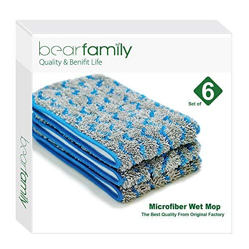 Microfiber Mop 18inch Wet Mop Refill For Hardwood Floors Gray Set of 6 by Bear Family (6)