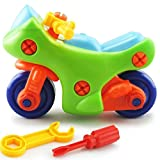 Winkey DIY Toy Car, Assemble Disassemble Toys Construction Vehicle Toys Take Apart Toys Building Toy Sets Racing Car Toy Set for Kids Girls Boys 3 4 5 Year Olds (A-Motorbike)