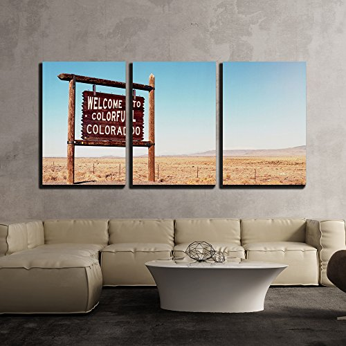 wall26 - 3 Piece Canvas Wall Art - Welcome to Colorado Roadside Wooden Sign at a Border with Utah in Northwestern Colorado - Modern Home Decor Stretched and Framed Ready to Hang - 16
