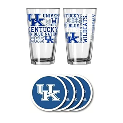 NCAA Kentucky - Spirit Pints & Vinyl Coasters Set | UK Wildcats Spirit Glassware Gift Set