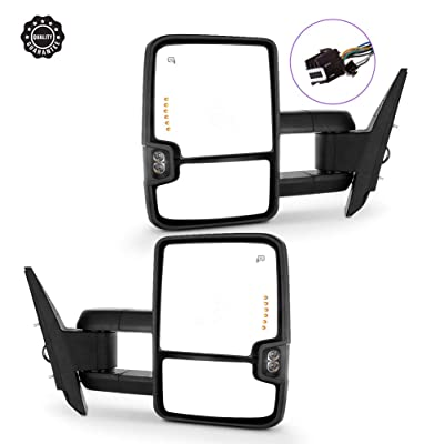 Ineedup Tow Mirrors Towing Mirrors Fit for 2008-2013 GMC Sierra 2014 GMC Sierra 2500HD 3500HD with Left Right Side Power Heated with Turn Signal Light Lens with LED Light: Automotive
