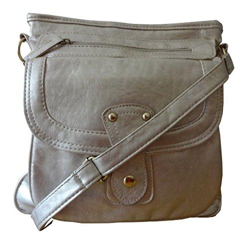 Amag - Cross Leatherette Bag Womens Silver Ailsa