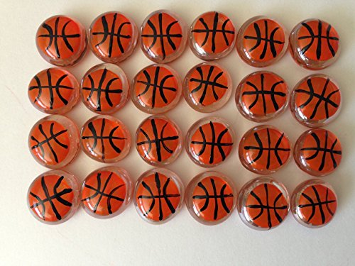 Jazzy Glass Gems, Hand Painted Set of 24, Party Favor, Decoration, Mosaic Tile, Crafts etc., Basketballs from Jazzy Glass Gems