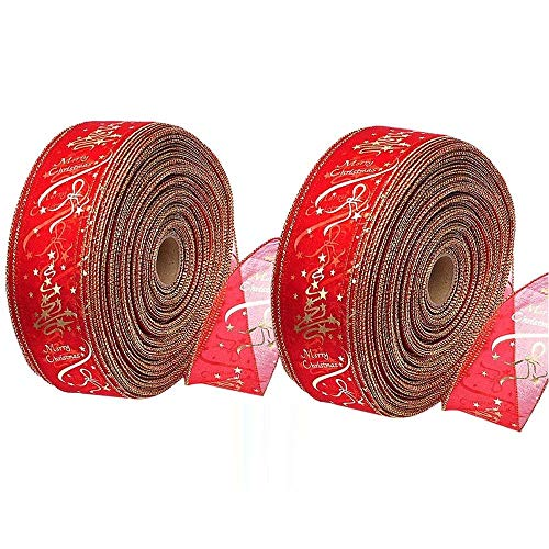 - Shinon 2 Rolls Christmas Ribbon Swirl Wired Sheer Glitter Ribbon Red Gold Merry Christmas Pattern Satin Gift Ribbon