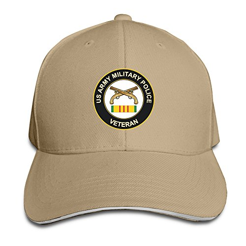 [Natural Army Military Police Adjustable Fitted Cap] (Cheap Police Hats)