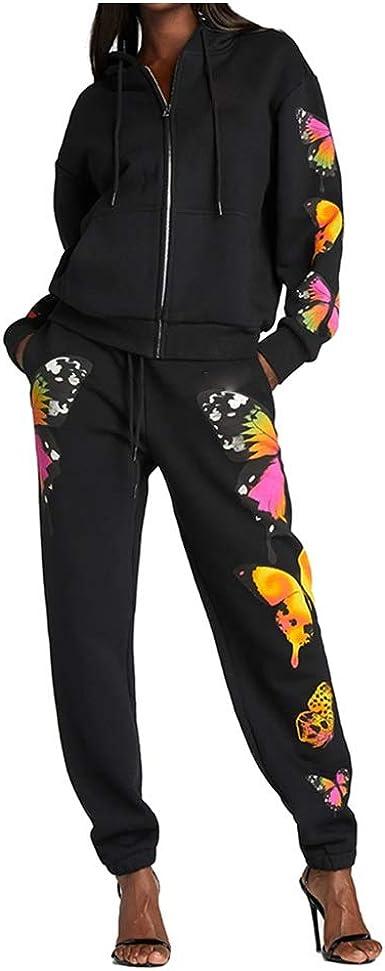 Women 2 Pieces Outfit Set Long Sleeve Zip Up Hoodie Sweatshirt Skinny Sweatpants Jogger Casual Tracksuit Autumn Winter