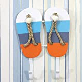 OLizee Beach Themed Wall Hook Towel Hat Coat Hangers Creative Wall Decorations (2-Colored Stripes Sandals)
