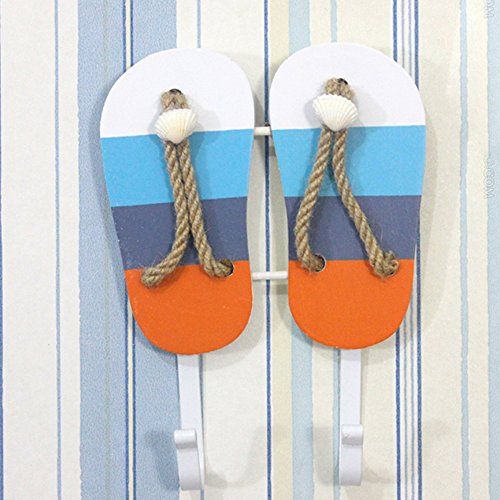 (OLizee Beach Themed Wall Hook Towel Hat Coat Hangers Creative Wall Decorations (2-Colored Stripes Sandals))