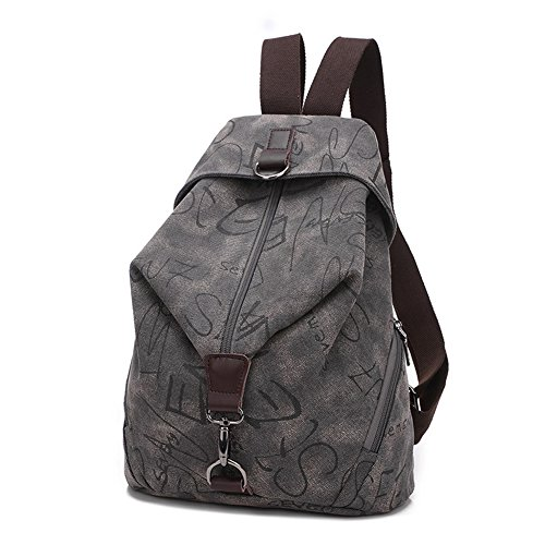 MiCoolker Canvas Backpack Sports Shoulders Bag Classic Vintage Student Satchel Bookbags Casual Travel Rucksack Shopping Daypack Grey