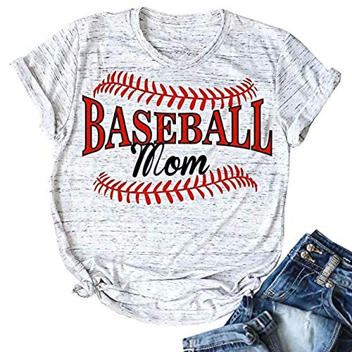 (ALLTB Baseball Mom Shirt for Women Summer Short Sleeve Cotton T Shirt Lady Graphic Tees Tops)