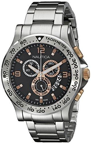 Nautica Men's NAD22502G NST 600 Chrono Analog Display Japanese Quartz Silver Watch