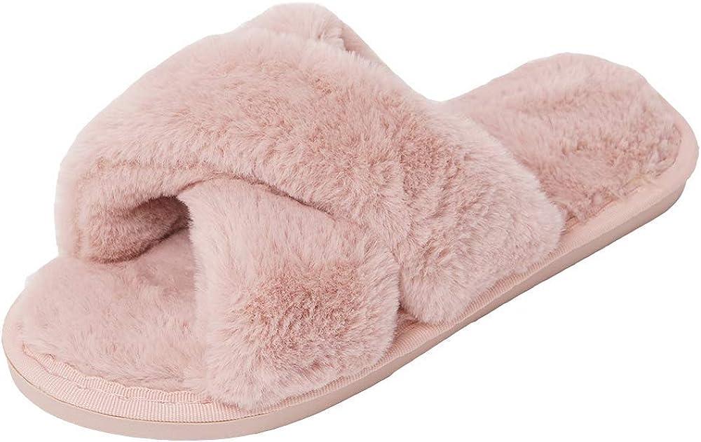 AONEGOLD Hausschuhe Damen Winter Warm Pl/üsche Pantoffeln rutschfeste Flache Flip Flop Slippers Indoor//Outdoor
