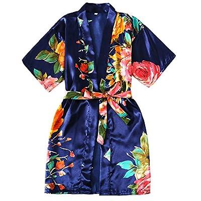 Zarachilable Kids' Satin Flower Girl Kimono Robe For Spa Party Wedding Birthday
