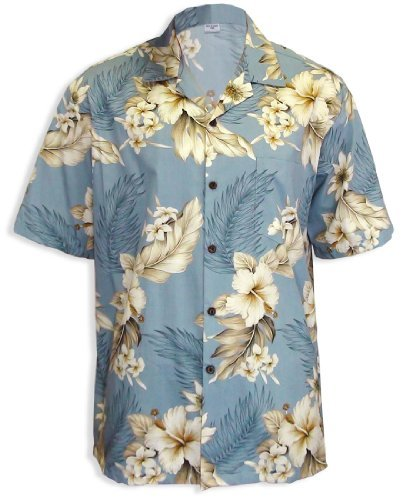 Island Paradise Hawaiian Shirt (Paradise Hibiscus Island Cotton Hawaiian Shirt, BLUE, XL)