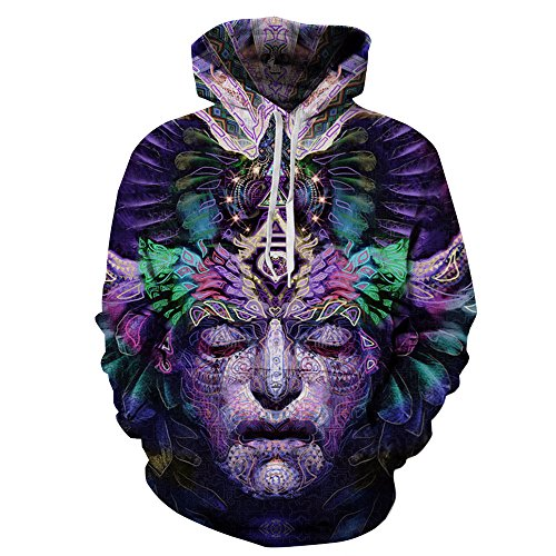 NEWCOSPLAY Unisex Realistic 3D Digital Print Pullover Hoodie Hooded Sweatshirt (XXL/XXXL, abstract face)