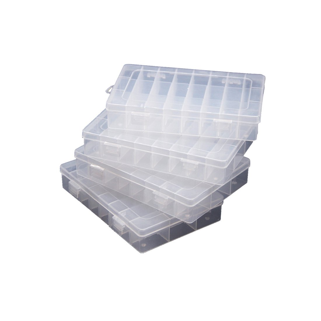 4 PCS Clear Plastic Jewelry Box Organizers 24 Grid with Adjustable Dividers for Beads Earrings Necklaces Rings Metal Parts Accessories Screws Button Storage Box Container