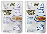 Fancy Feast Broth for Cats Tuna, Shrimp & Whitefish and Creamy Wild Salmon & Whitefish, 1.4 Oz Pouch, Pack of 24 For Sale