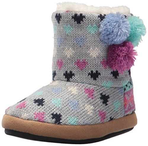 Patterned Knit Sweater (Dearfoams Girls' Patterned Sweater Knit Bootie, Iceberg, 4-5 Medium US Little Kid)